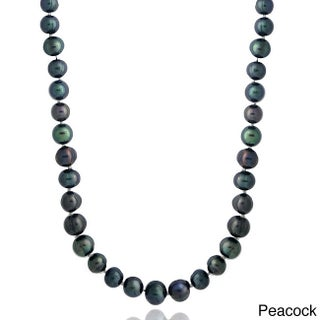 Glitzy Rocks Colored Freshwater Pearl 36-inch Necklace (Option: Peacock)
