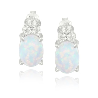 Glitzy Rocks Sterling Silver Created Opal and Cubic Zirconia Oval Earrings