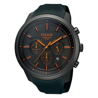 Pulsar Men's Chronograph Black Dial Orange Accent Watch - PT3207