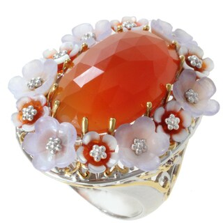 Michael Valitutti Two-tone Carnelian, Shell and Pink Sapphire Ring