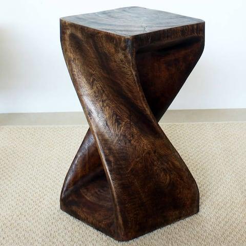 "Handmade Original Wood Twist Stool/End Table (Thailand) - 10"" x 10"" x 18"""