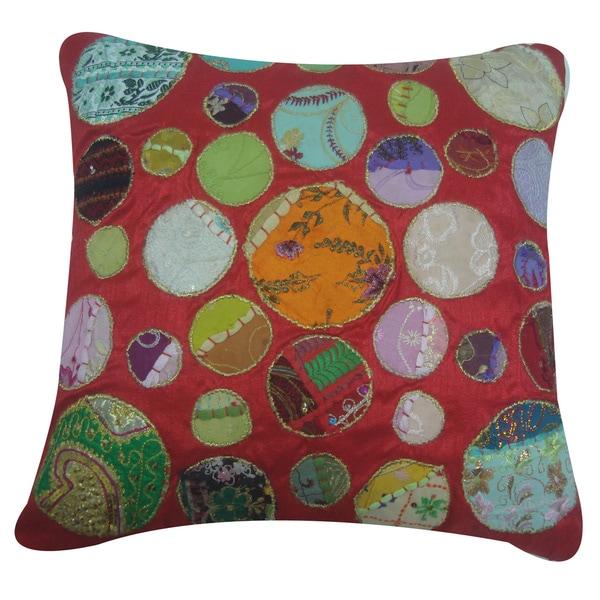 Red Khambadia Decorative Throw Pillow (India)