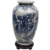Handmade 14-Inch Blue and White Porcelain Tung Chi Vase (China)