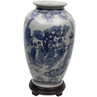 "Handmade 14"" Blue and White Porcelain Tung Chi Vase"