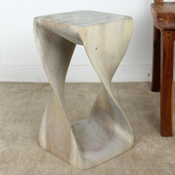 18 Wooden Stools ~ Handmade inch agate grey twist stool thailand