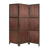 Handmade Savannah 3-Panel Wooden Screen (China)