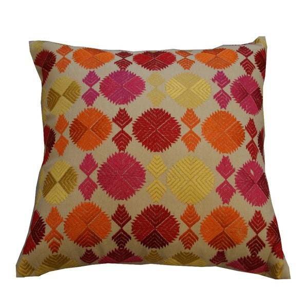 Phulkari Pattern Decorative Throw Pillow (India)
