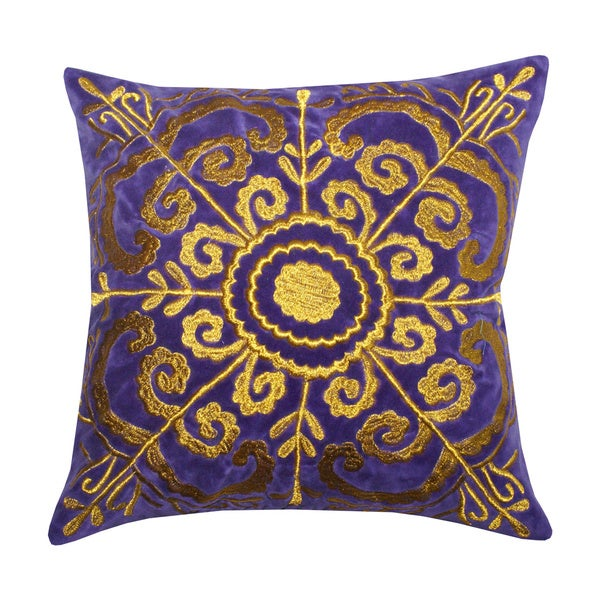 Shop Zari Purple Velvet Medallion Throw Pillow India