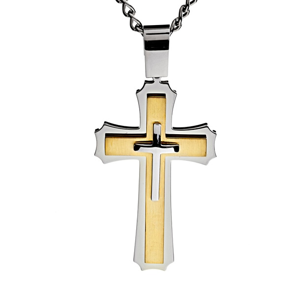 14k two tone gold crucifix necklace free shipping today overstock - Two Tone Stainless Steel Men S Crucible Cross Necklace