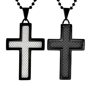 Black-plated Steel Men's Crucible Carbon Fiber Inlay Cross Necklace