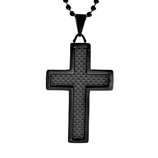 Black-plated Steel Men's Crucible Carbon Fiber Inlay Cross Necklace