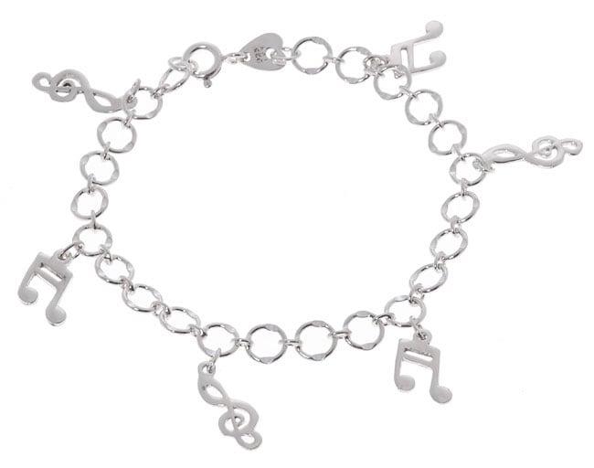 Journee Sterling Silver Music Notes Bracelet