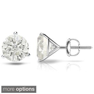 Auriya 18k Gold 1/4 to 3/4ct. TDW  3-Prong Martini Round Diamond Solitaire Stud Earrings