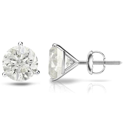 Auriya 1/4 to 1ct TW Round Diamond Stud Earrings 18k Gold 3-Prong Martini
