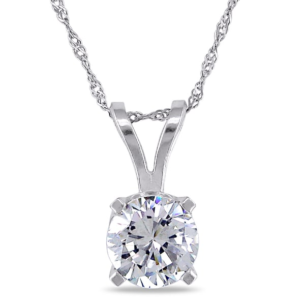 Miadora 14k White Gold Cubic Zirconia Solitaire Necklace