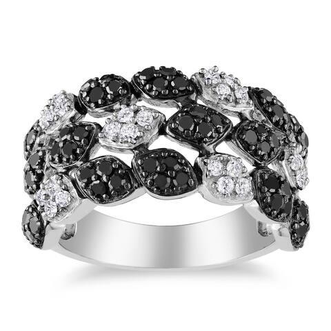 Miadora Sterling Silver 1ct TDW Black and White Diamond 3-Row Fashion Ring