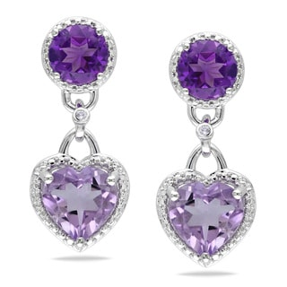 Miadora Silver Rose de France, Amethyst and Diamond Heart Earrings