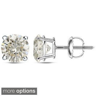 Auriya 18k White or Yellow Gold 1 to 2ct TDW Certified Round Diamond Earrings (J-K, I1-I2)
