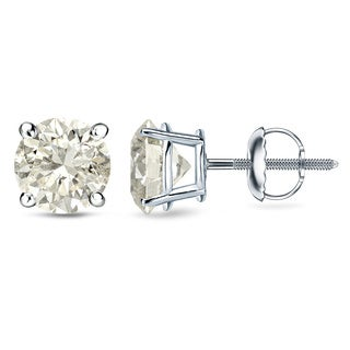 18k White/Yellow Gold Round Diamond Stud Earrings (J-K, I1-I2)