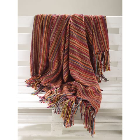 Multicolor Woven Design Fringe Throw