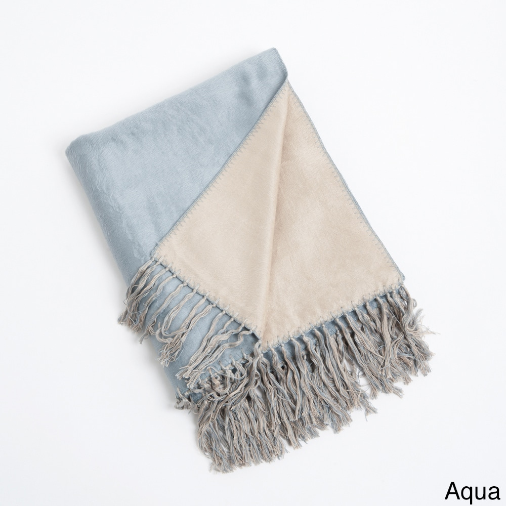Saro Rayon from Bamboo Reversible Fringe Throw Blanket (A...