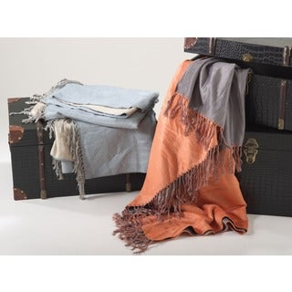 Rayon from Bamboo Reversible Fringe Throw Blanket (2 options available)
