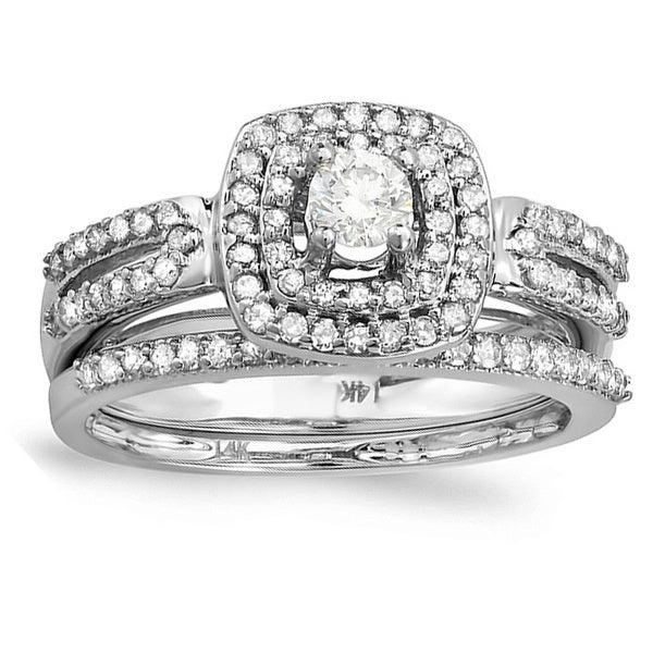 Elora 14k White Gold 3/4ct TDW Diamond Bridal Ring Set