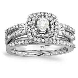 Elora 14k White Gold 3/4ct TDW Diamond Bridal Ring Set (H-I, I1-I2)