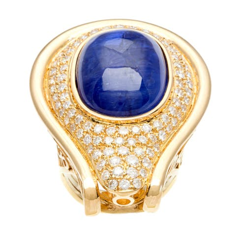 18k Gold Sapphire and 3ct TDW Diamond Cocktail Estate Ring (F-G, VS1-VS2)