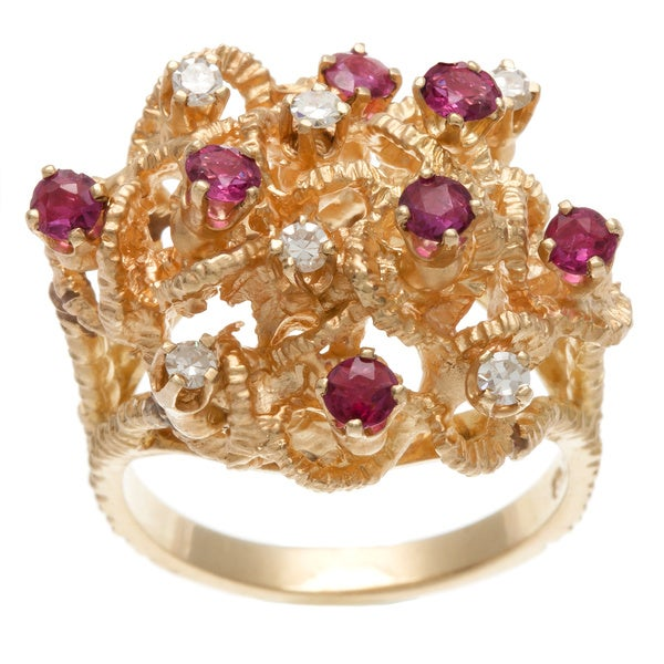 14k Yellow Gold Ruby and 1/4ct TDW Diamond Estate Ring (H-I, SI1-SI2)