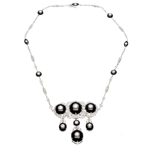 Pre-owned 14k White Gold Onyx and 8ct TDW Diamond Estate Necklace