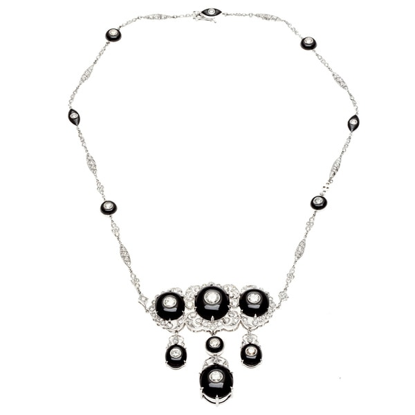 Pre-owned 14k White Gold Onyx and 8ct TDW Diamond Estate Necklace (H-I, SI1-SI2)