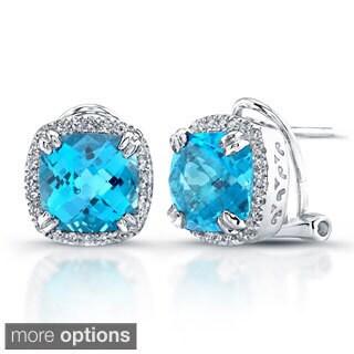 Sterling Silver Blue Topaz and 1/4ct TDW Diamond Earrings (J-K, I2-I3)