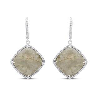 Sterling Silver Light Agate and 1/3ct TDW Diamond Earrings (J-K, I2-I3)