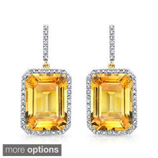 Yellow-plated Silver Citrine and 1/2ct TDW Diamond Earrings (J-K, I2-I3)