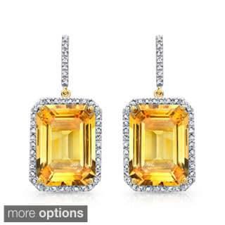 Yellow Plated Silver Gemstone and 1/2ct TDW Diamond Earrings (J-K, I2-I3) (Option: Quartz)|https://ak1.ostkcdn.com/images/products/8252073/Yellow-plated-Silver-Citrine-and-1-2ct-TDW-Diamond-Earrings-J-K-I2-I3-P15578035.jpg?impolicy=medium