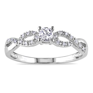 Miadora Sterling Silver Created White Sapphire and 1/10ct TDW Diamond Infinity Promise Ring (G-H, I2-I3)
