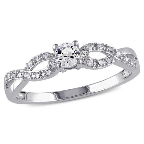 Miadora Sterling Silver Created White Sapphire and 1/10ct TDW Diamond Infinity Promise Ring