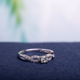 Miadora Sterling Silver White Sapphire and 1/10ct TDW Diamond Infinity Promise Ring (G-H, I2-I3)
