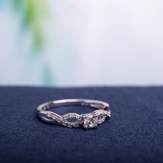 Miadora Sterling Silver Created White Sapphire and 1/10ct TDW Diamond Infinity Promise Ring (G-H, I2-I3)|https://ak1.ostkcdn.com/images/products/8252083/P15578052.jpg?impolicy=medium