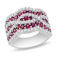 Miadora Sterling Silver Ruby and White Sapphire Ring