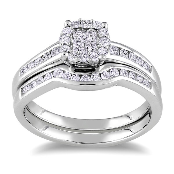 Miadora Sterling Silver 1/2ct TDW Diamond Bridal Ring Set