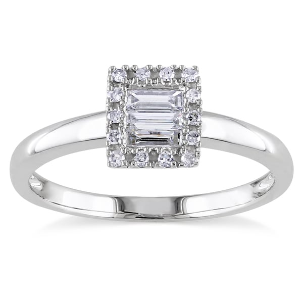 Miadora 10k Gold 1/4ct TDW Baguette and Round Diamond Ring