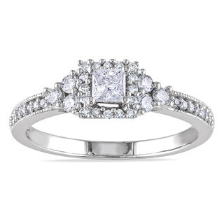 Miadora 14k White Gold 1/2ct TDW Certified Diamond Halo Engagement Ring