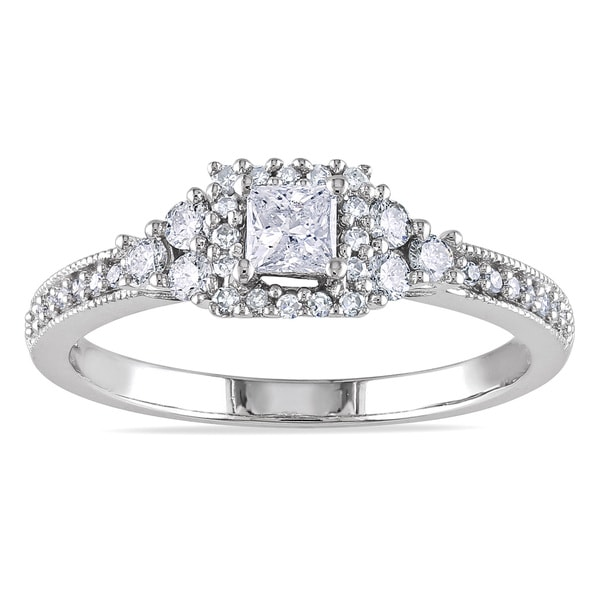 Miadora 14k White Gold 1/2ct TDW Certified Diamond Halo Engagement Ring (G-H, I1-I2)