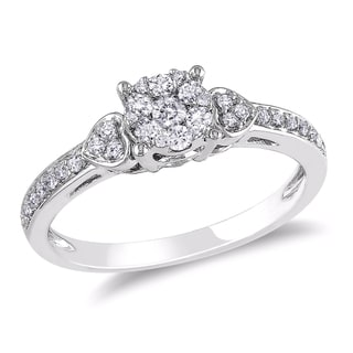 Miadora 10k White Gold 1/3ct TDW Diamond Cluster Engagement Ring