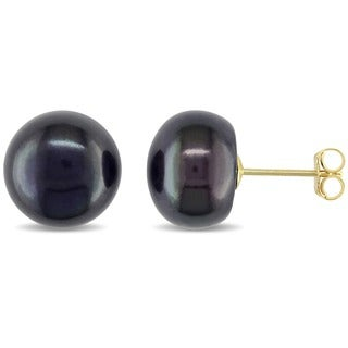 M by Miadora 10k Yellow Gold Black Cultured Freshwater Pearl Stud Earrings (9-10 mm)