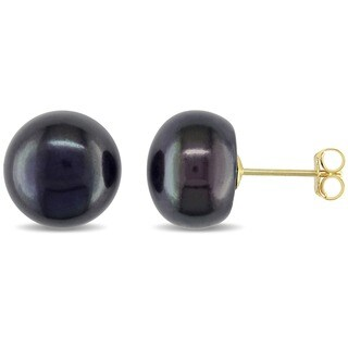 Miadora 10k Yellow Gold Black Cultured Freshwater Pearl Stud Earrings (9-10 mm)