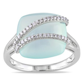 Miadora 14k Gold Blue Chalcedony and 1/8ct TDW Diamond Ring (G-H, I1-I2)