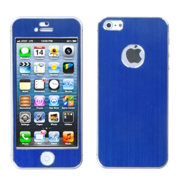 BasAcc Blue/ Brushed Metal Shield Case for  Apple iPhone 5
